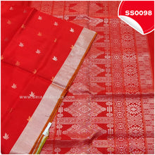 Load image into Gallery viewer, Chilli Red kanchivaram soft silk saree with silver tissue border and border butta1