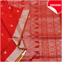 Load image into Gallery viewer, Chilli Red kanchivaram soft silk saree with silver tissue border and border butta2
