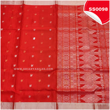 Load image into Gallery viewer, Chilli Red kanchivaram soft silk saree with silver tissue border and border butta3