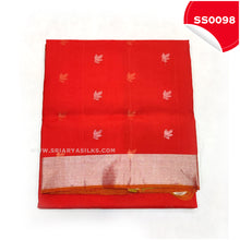 Load image into Gallery viewer, Chilli Red kanchivaram soft silk saree with silver tissue border and border butta5