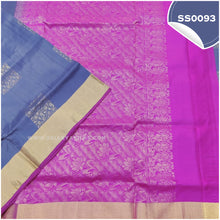 Load image into Gallery viewer, Bluish grey kanchivaram soft silk saree with pink paloo and blouse1