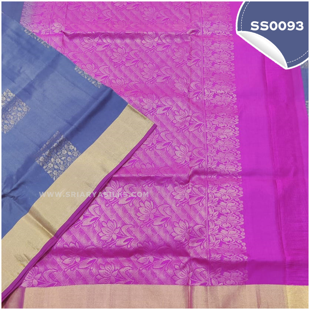 Bluish grey kanchivaram soft silk saree with pink paloo and blouse1