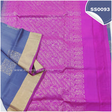 Load image into Gallery viewer, Bluish grey kanchivaram soft silk saree with pink paloo and blouse2