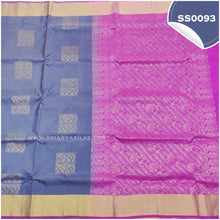 Load image into Gallery viewer, Dark grey kanchivaram soft silk saree with pink paloo and blouse3