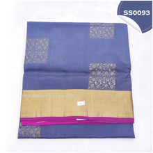 Load image into Gallery viewer, Dark grey kanchivaram soft silk saree with pink paloo and blouse5