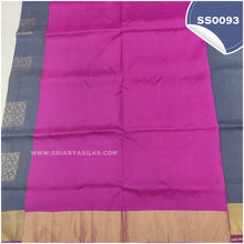 Load image into Gallery viewer, Dark grey kanchivaram soft silk saree with pink paloo and blouse6
