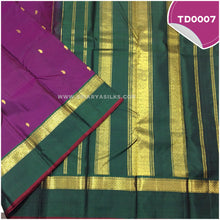 Load image into Gallery viewer, Dark purple traditional silk saree with all over mango motif 2