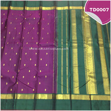 Load image into Gallery viewer, Dark purple traditional silk saree with all over mango motif 3