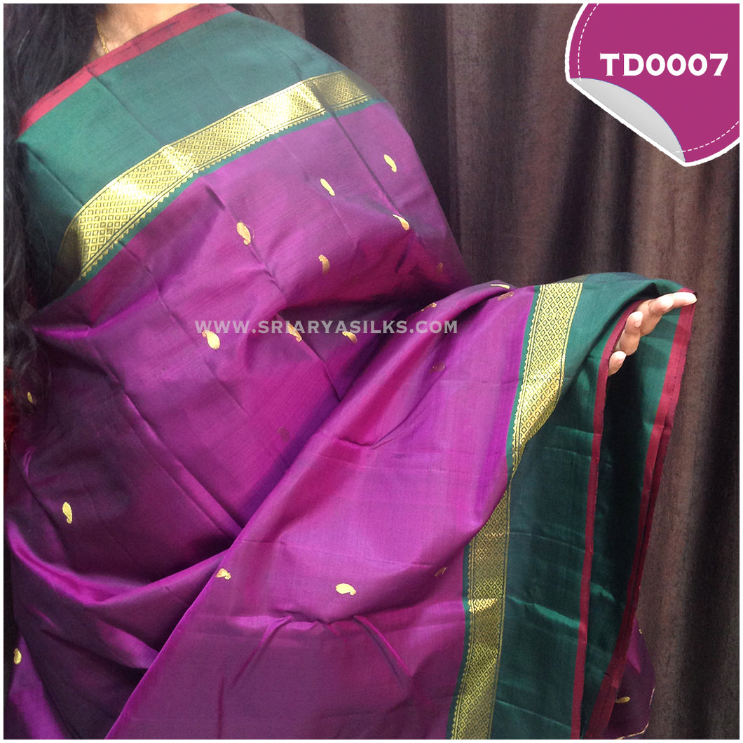 Dark purple traditional silk saree with all over mango motif
