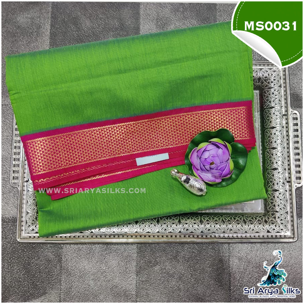 Leaf Green Madisaar/9-Yards Semi Silk Cotton Saree