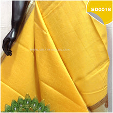 Load image into Gallery viewer, Light yellow kora organza saree with copper peacock buttas 2