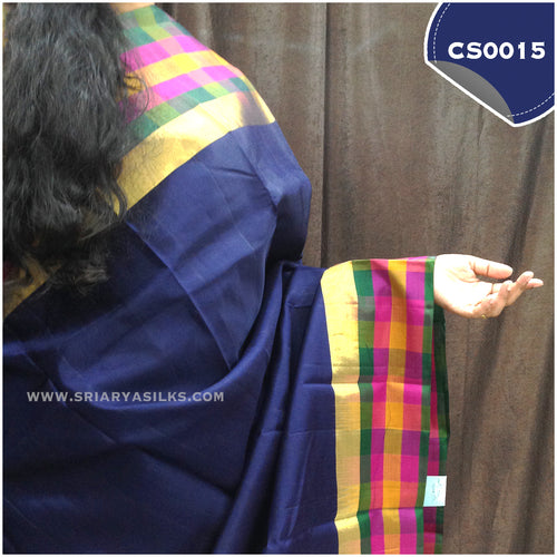 Navy Blue Plain Kanchipuram Silk Saree with Multicoloured Checked Border