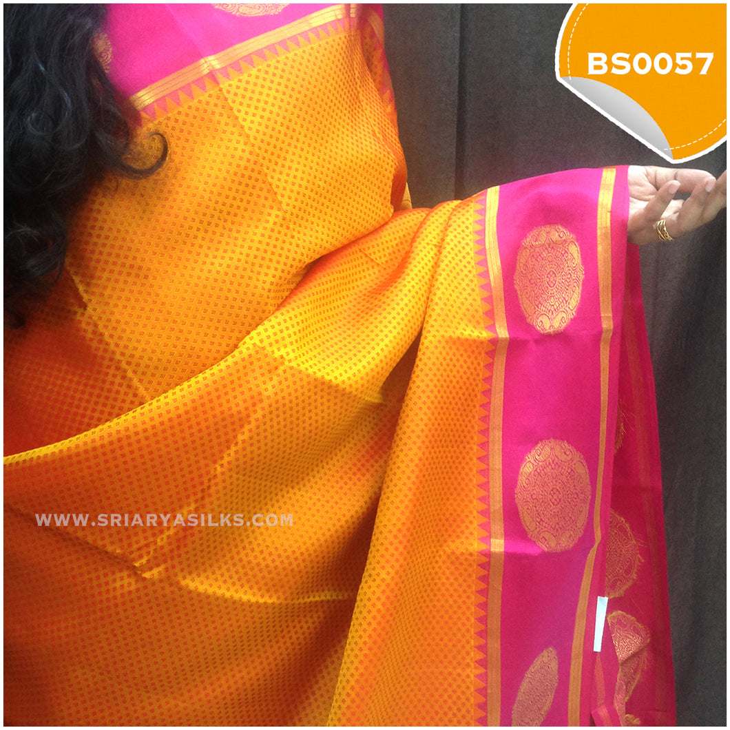 Reddish Orange with Pink Border with Chakra Motives