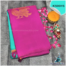 Load image into Gallery viewer, Turquoise Green And Majenta Pink Half And Half Silk Saree With Peacock Motifs