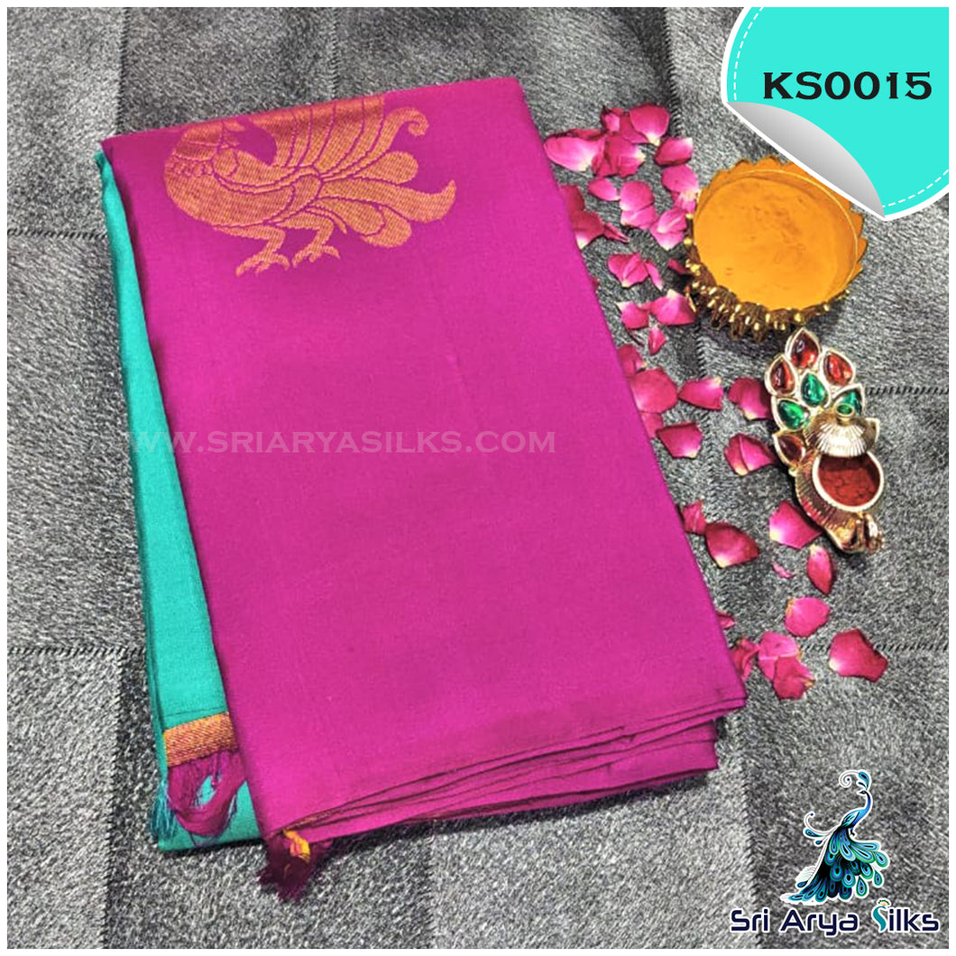 Turquoise Green And Majenta Pink Half And Half Silk Saree With Peacock Motifs