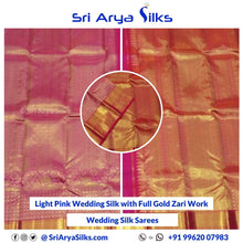 Load image into Gallery viewer, WS 0001 Light Pink Wedding Silk with Full Gold Zari Work and Dark Orangish Pink Paloo and BlouseWedding Silk Sarees Buy Pure Silk Sarees Online Chennai