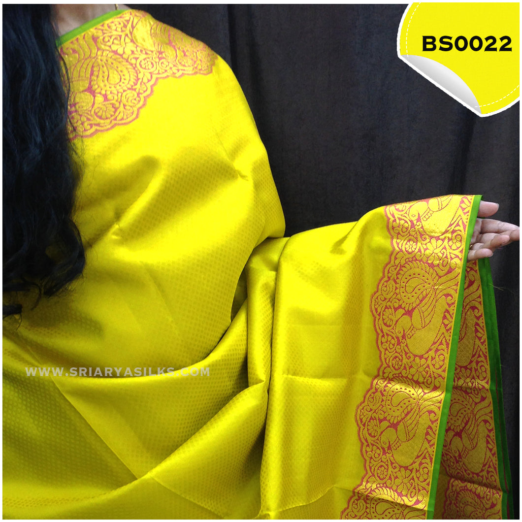 Yellow Embossed Peacock Turning Border