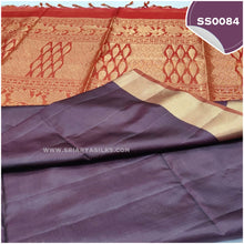 Load image into Gallery viewer, dual tone snuff shade kanchivaram handwoven soft silk saree4