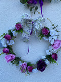 Pink door wreath