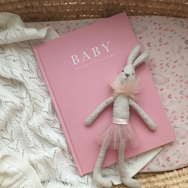 Baby journal for the first five years, recording baby milestones and memories