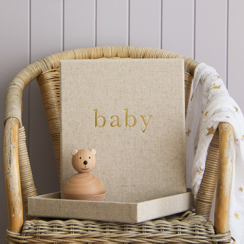 Linen gender neutral baby journal, with embossed storage box