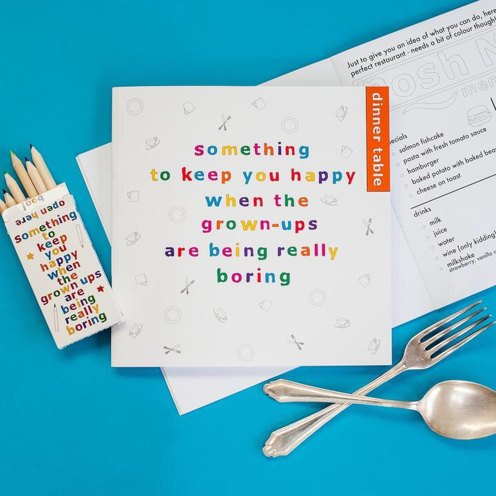Something to Keep You Happy Book with pencils - Dinner Table - My Memory Books