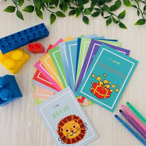 Kids Positive Affirmation cards, bright and colourful with positive words and designs