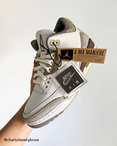 Jordan 3 A Ma Maniére in hand @charlottewhybrow Instagram