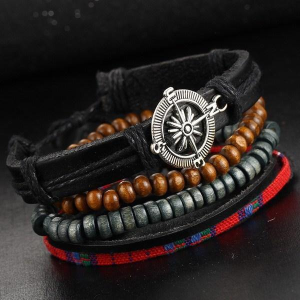 4 Piece Leather Multi-layer Bead Bracelets - Ready Made Suits