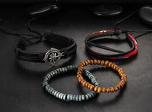 Load image into Gallery viewer, 4 Piece Leather Multi-layer Bead Bracelets - Ready Made Suits