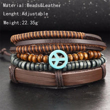 Load image into Gallery viewer, 4 pcs/set Bohemian Style Multilayer Leather, Bead Bracelets & Bangles – 513 - Ready Made Suits