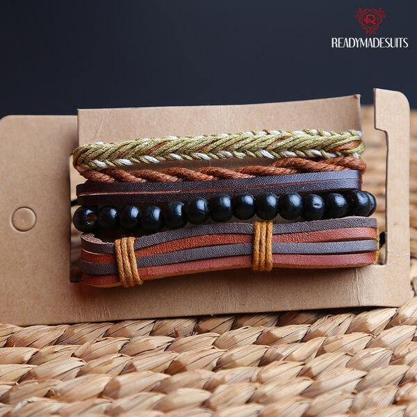 4 pcs/set Bohemian Style Multilayer Leather, Bead Bracelets & Bangles – 522 - Ready Made Suits