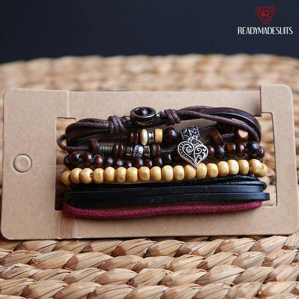 4 pcs/set Bohemian Style Multilayer Leather, Bead Bracelets & Bangles – 524 - Ready Made Suits