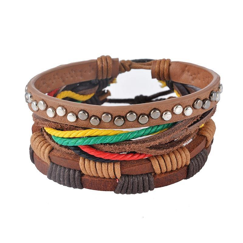 Leather, Multilayer Bead & Punk Wrap Bracelets – 502 - Ready Made Suits