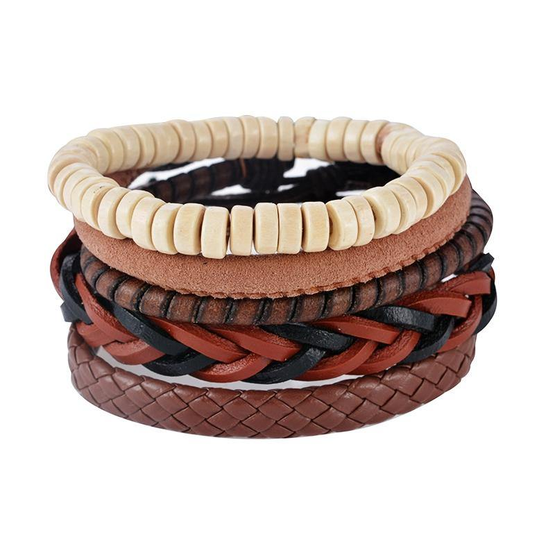 Leather, Multilayer Bead & Punk Wrap Bracelets – 503 - Ready Made Suits