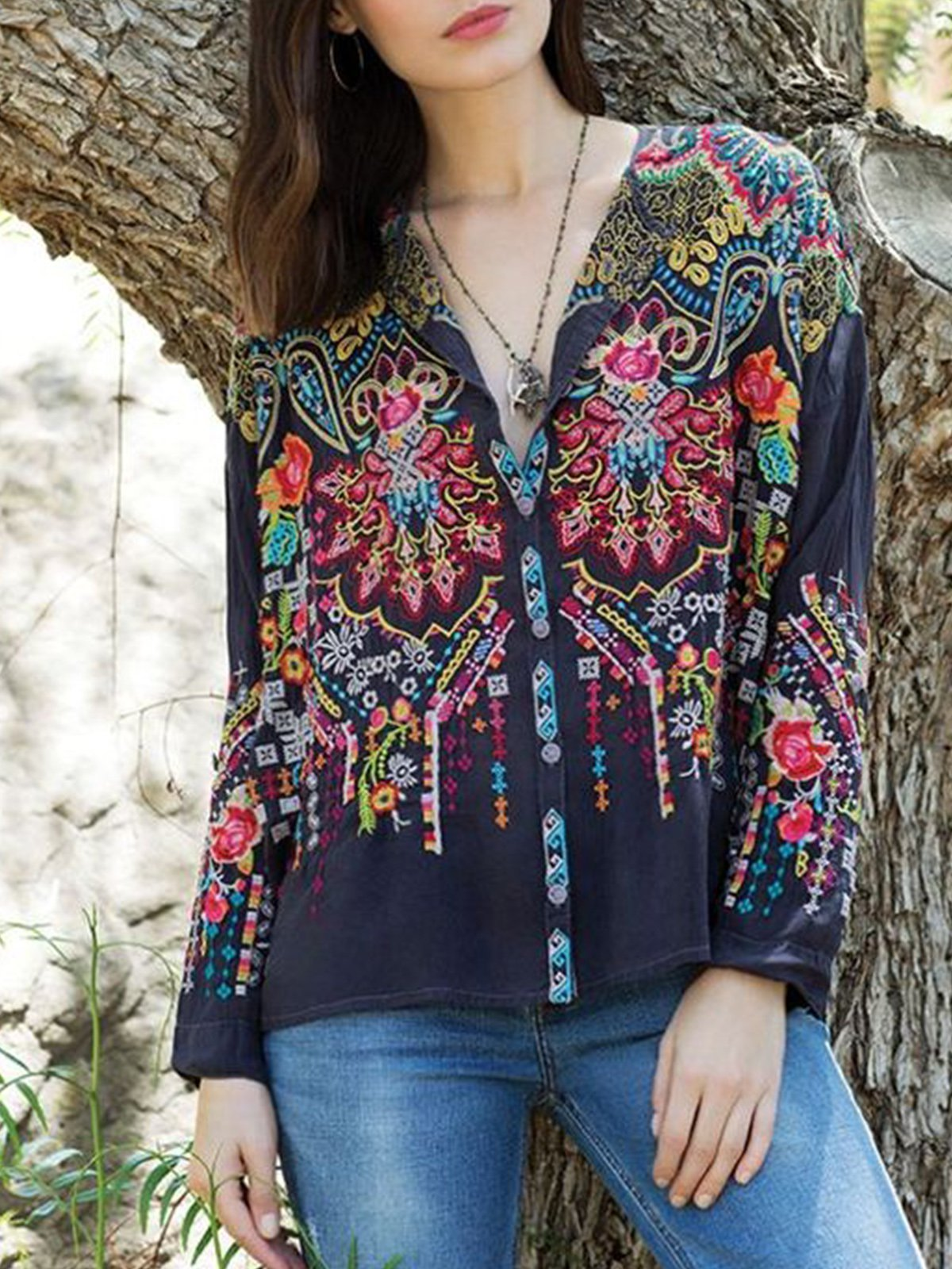Boho Embroidery Long Sleeve V Neck Shirts & Tops