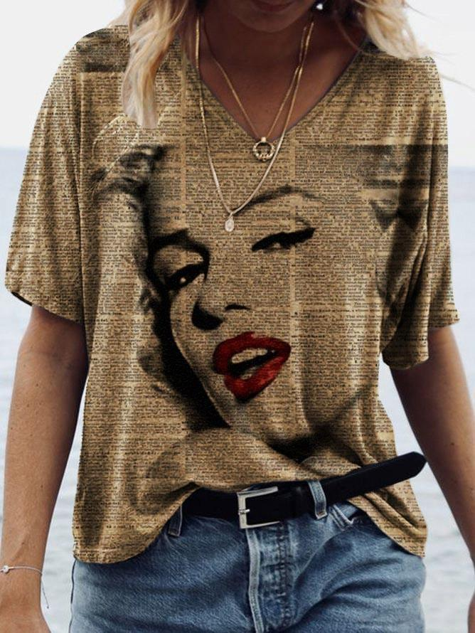 Women's Marilyn Monroe portrait print V-neck short-sleeved T-shirt
