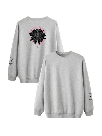 Sweat Smile back fleurs gris
