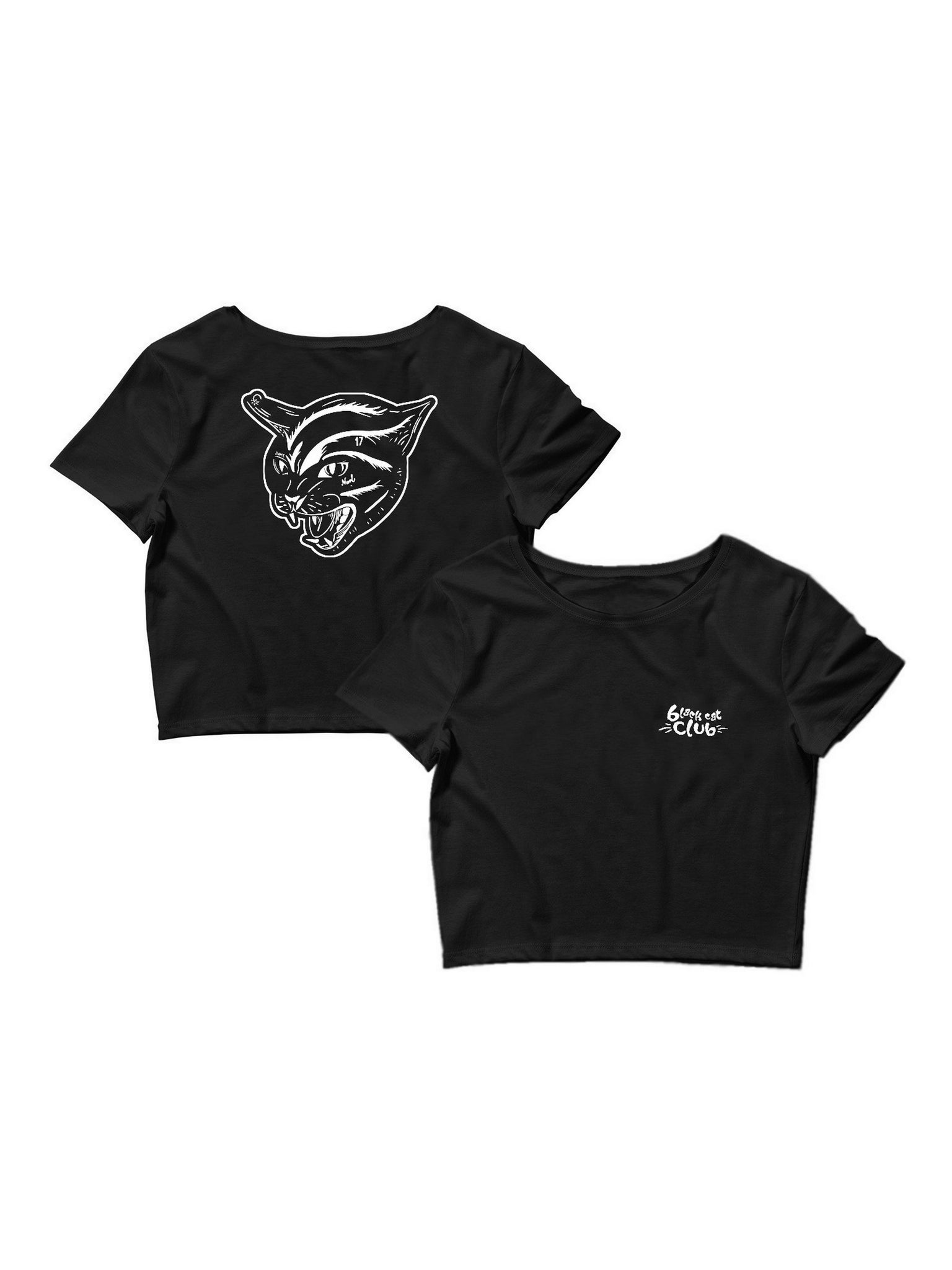 Crop top black cat club noir