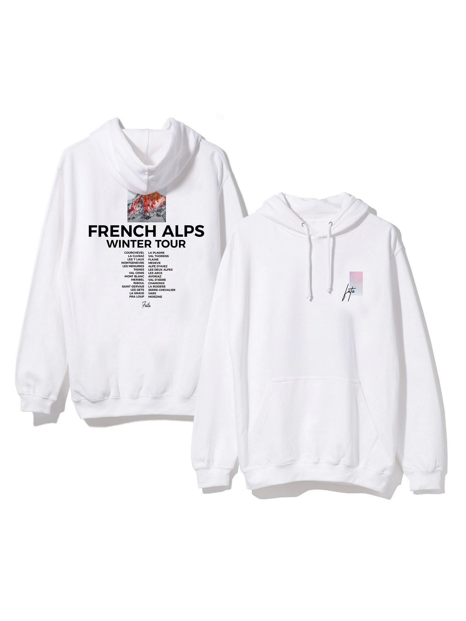 Hoodie French Alps winter tour blanc