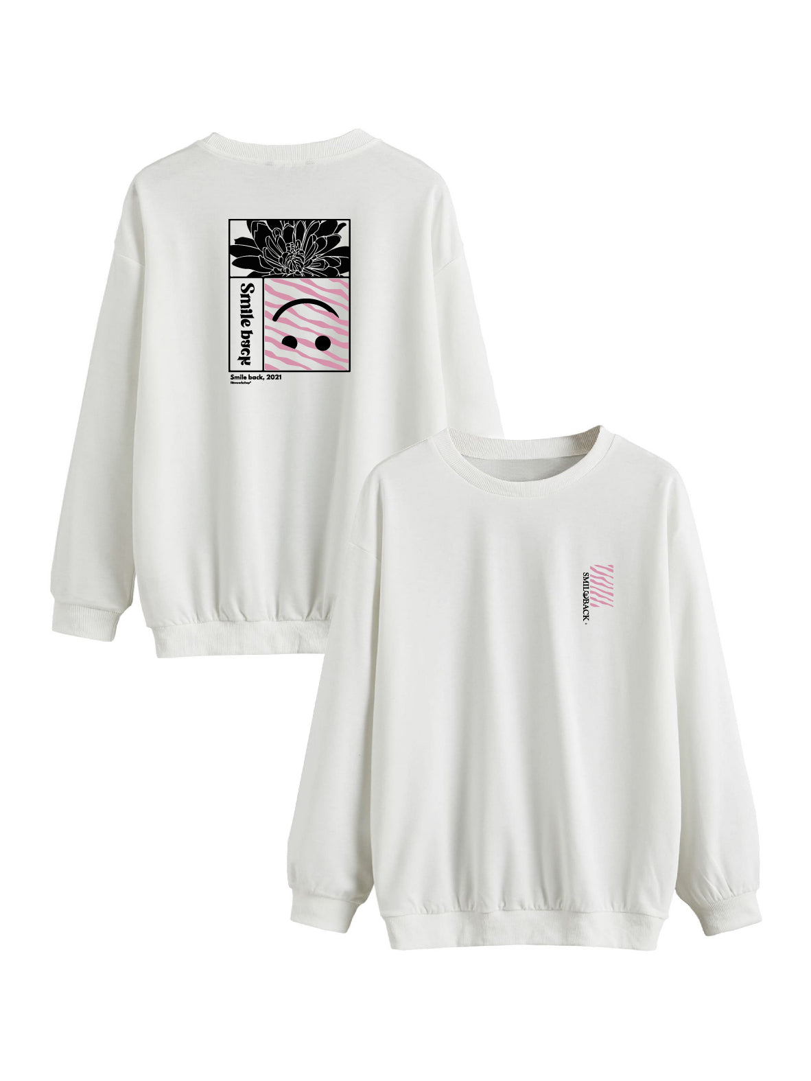Sweat Smile back rectangle rose et blanc