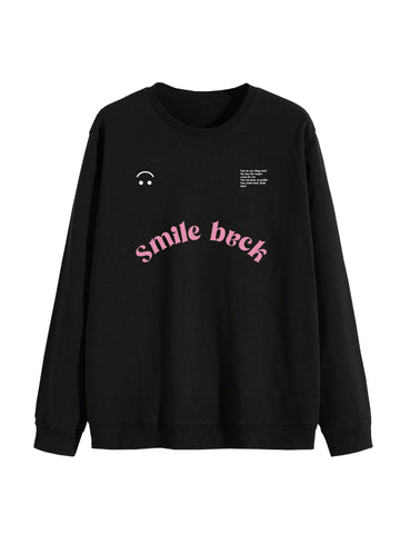 Sweat Smile back style université noir