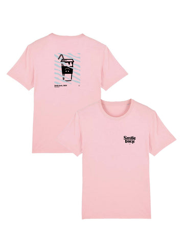 Tee shirt milk shake smile back rose pastel