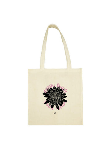 Tote bag Fleurs smile back rose et beige en coton naturel