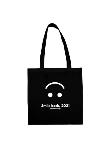 Tote bag smile back noir en coton naturel