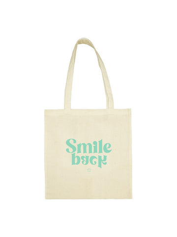 Tote bag smile back groovy beige en coton naturel