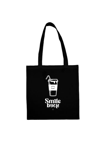 Tote bag milk shake smile back noir en coton naturel