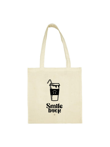Tote bag milk shake smile back beige en coton naturel
