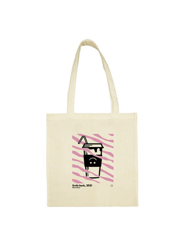 Tote bag milk shake rose smile back beige en coton naturel