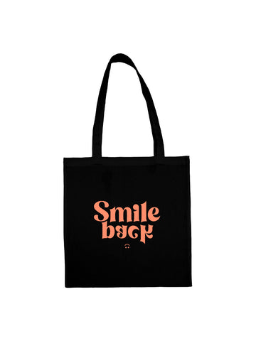 Tote bag smile back groovy noir en coton naturel
